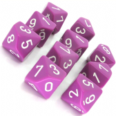 Fuchsia & White Opaque D10 Ten Sided Dice Set